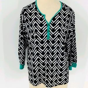 My Collection blouse, large. Black/white.